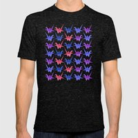 Origami Birds Mens Fitted Tee Tri-Black SMALL