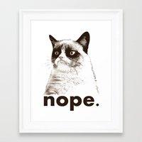 GRUMPY CAT - Nope (version 2) Framed Art Print