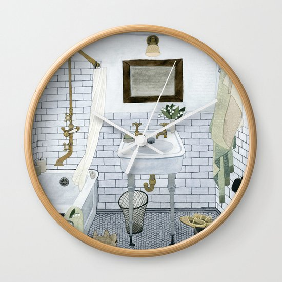 in the bathroom wall clock by yuliya society6. Black Bedroom Furniture Sets. Home Design Ideas
