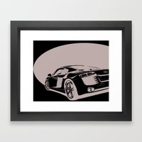 Audi R8, Black & White Framed Art Print