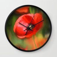 Warmth- Poppies In Love  Wall Clock