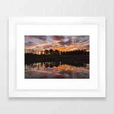 North Carolina Red Clouds reflection sunset Framed Art Print