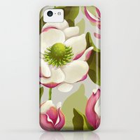 iPhone 5c Cases featuring magnolia bloom - daytime version by Lidija Paradinović Nagulov - Celandine