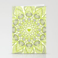 Green Circle Pattern Stationery Cards