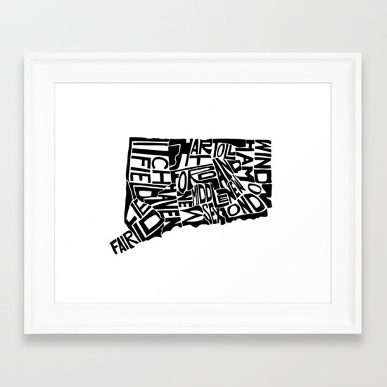 Typographic Connecticut Framed Art Print