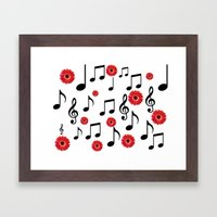 Musical Notes & Red Gerberas Framed Art Print