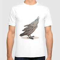 Crowing Crow Mens Fitted Tee White SMALL