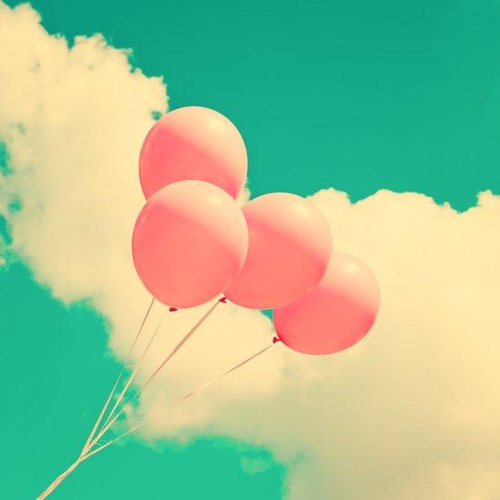 Happy Pink Balloons on retro blue sky  Art Print