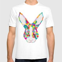 Rainbow Rabbit Mens Fitted Tee White SMALL