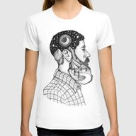 BEARDED MAN Womens Fitted Tee White MEDIUM