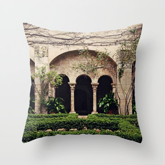 Van Gogh's Courtyard in St Remy Throw Pillow