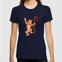 An Original Detroit Tiger's Logo (unofficial, of course) Womens Fitted Tee Navy SMALL