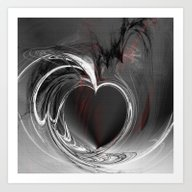 Heart Black Art Print