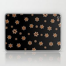 Snowflakes (Orange on Black) Laptop & iPad Skin