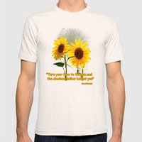 SUNFLOWERS, Double Sunsh… Mens Fitted Tee Natural SMALL