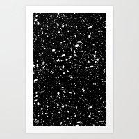 Retro Speckle Print - Bl… Art Print