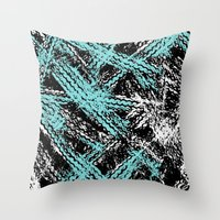 Desert Tracks Teal Throw Pillow