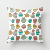 Pattern Project #5 / Cats and Pots Throw Pillow