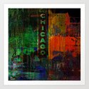 A night in Chicago Art Print