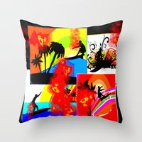 Posterized Surfing Collage Throw Pillow