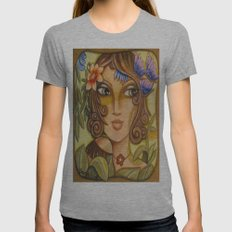 Mona Lisa's Butterflys Womens Fitted Tee Athletic Grey SMALL