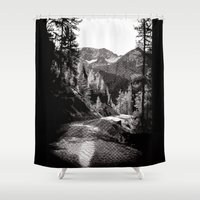 The road through the forrest below the mountains Shower Curtain