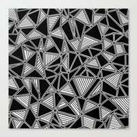 Abstract Outline Lines Black Canvas Print