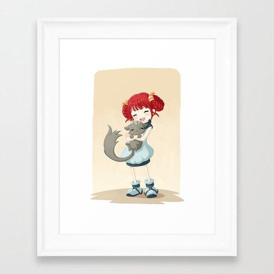 Girl and a Cat Framed Art Print