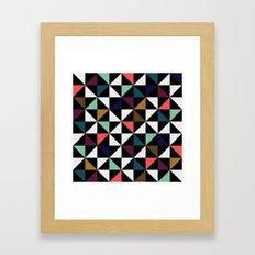 Triangle pattern (salmon & mint) Framed Art Print