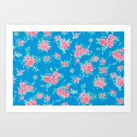 Shabby Chic Rose Backgro… Art Print