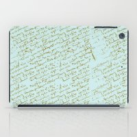 French Script on Paris Blue iPad Case