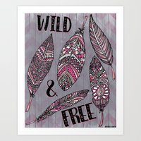 Wild & Free Feathers. Pink & Grey Edition Art Print