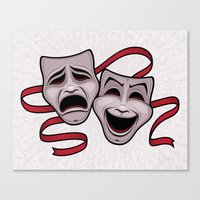 Comedy And Tragedy Theater Masks Canvas Print