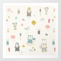 Funny Bears Art Print