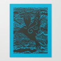 Turquoise Crow Canvas Print