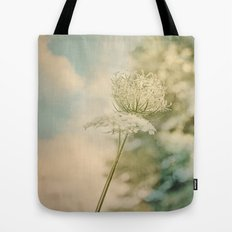 Cloudy with Sunshine and Queen Anne's Lace Wild Flowers in a Meadow Tote Bag
