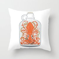 The Kraken In A Bottle Throw Pillow