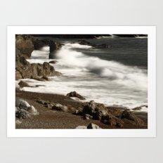 Ocean Waves and Rocks Art Print
