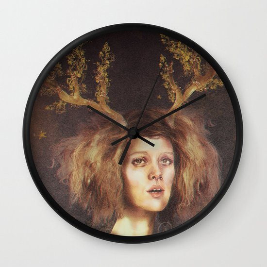 The Golden Antlers Wall Clock