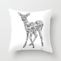 Leafy Deer Throw Pillow