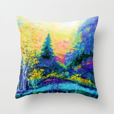 Scenic Mountain Trees Blue Landscape Painting Throw Pillow