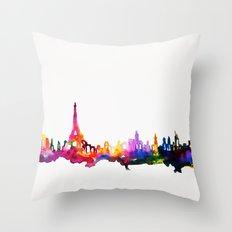 Paris In Watercolor Throw Pillow