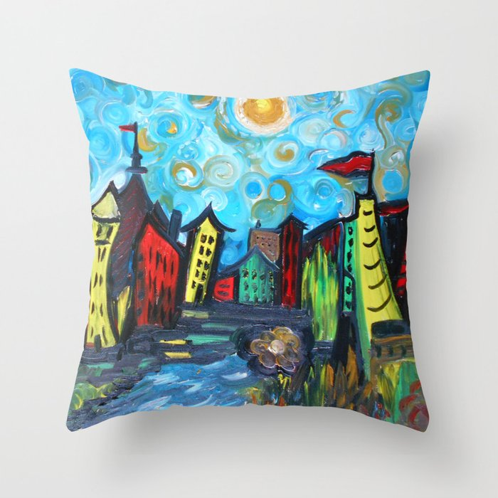 Throw Pillows Primary Colors : Primary color Cityscape Throw Pillow by RokinRonda Society6