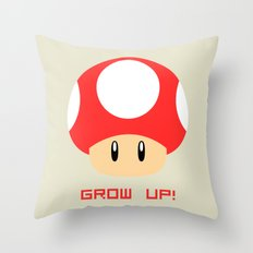 Grow Up! (Super Mario) Throw Pillow