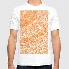 Orange Pulse o3. White SMALL Mens Fitted Tee