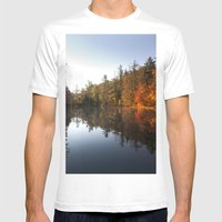 Mirrored Lake In Fall Mens Fitted Tee White SMALL