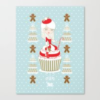 Merry Lady Christmas Cup… Canvas Print