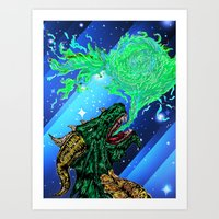 green dragon fire artist Art Print