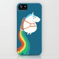 Fat Unicorn On Rainbow J… iPhone (5, 5s) Slim Case