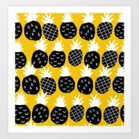 Black pineapple. Art Print